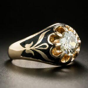Russian Victorian-Style Diamond Belcher Ring.