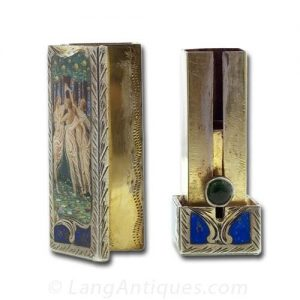 Silver and Enamel Lipstick Case.