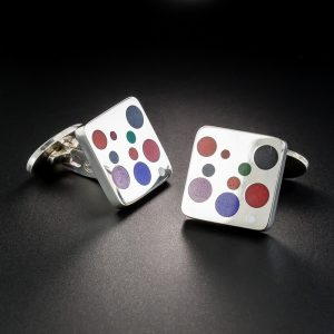 Georg Jensen Sterling Silver and Enamel Cufflinks.