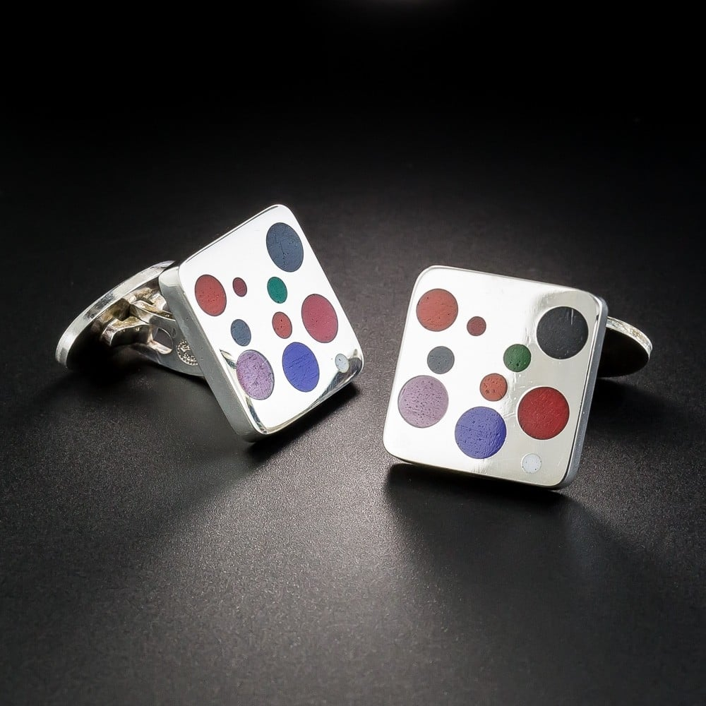 Georg Jensen Stirling Silver and Enamel Cufflinks.