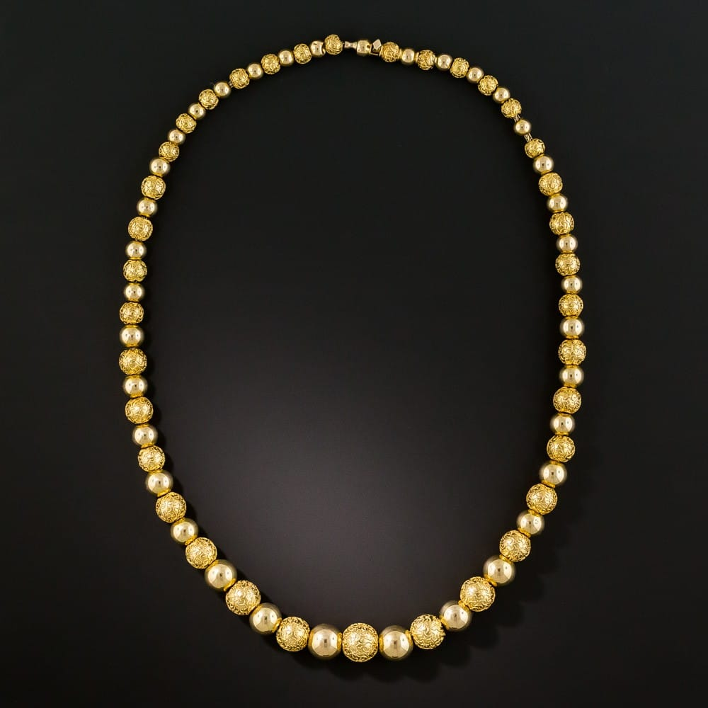 Victorian Graduated Cannetille Bead Necklace.