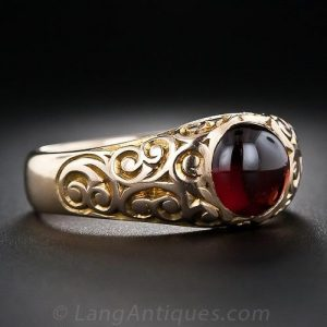 Gypsy Set Victorian Garnet Ring.