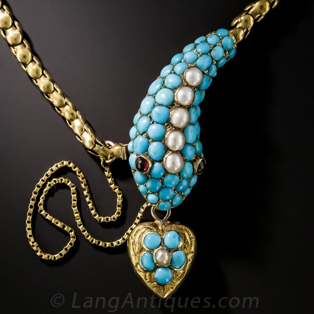 Victorian Turquoise and Pearl Articulated Snake Necklace.