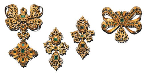 Suite of 18th Century Emerald and Gold Jewelry. Photo Courtesy of Christie's.
