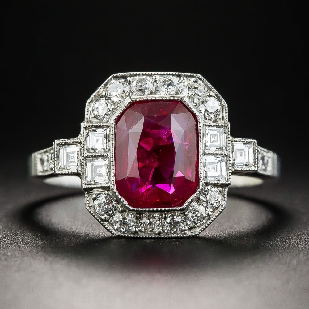 Burma Ruby (No Heat Treatment) and Diamond Ring.