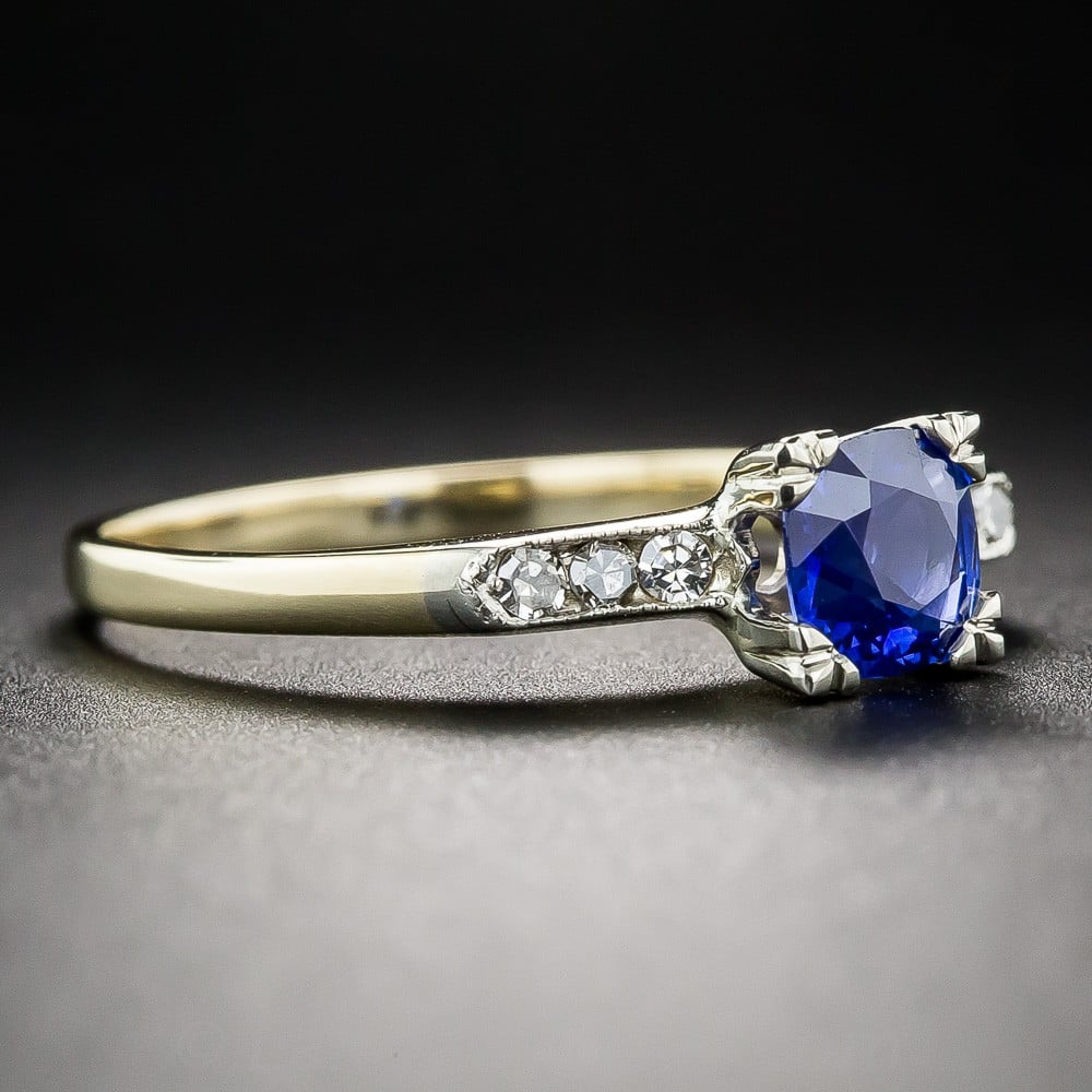 Vintage Engagement Ring with Claw-Set Sapphire.