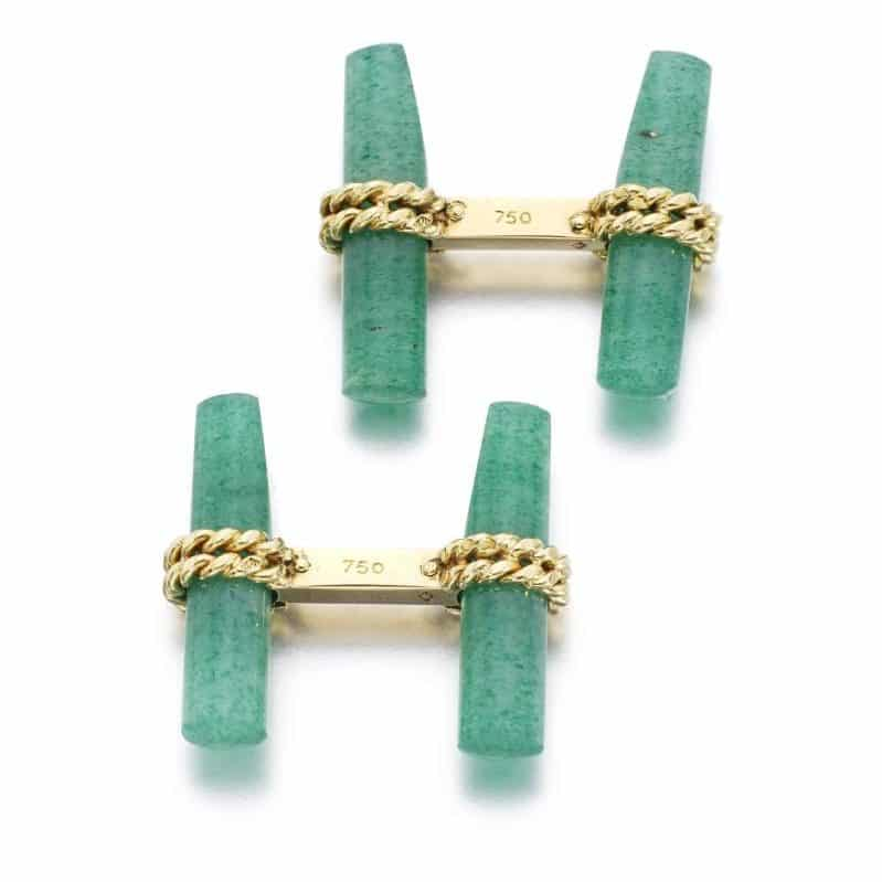 Aventurine Quartz Cufflinks, Van Cleef & Arpels. Photo Courtesy of Sotheby's.