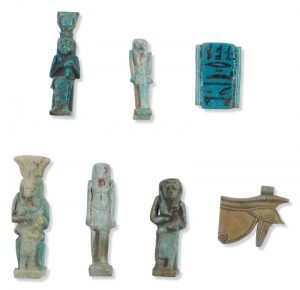 5 Egyptian Blue Glaze Amuletic Figures, c.664-525 BC. Photo Courtesy of Sotheby's.