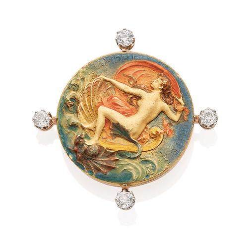 Vever Art Nouveau Enamel and Diamond Amphitrite Brooch. Photo Courtesy of Christie's.