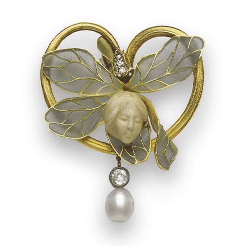 Vever Art Nouveau Ivory, Diamond and Enamel Brooch, c.1900. Photo Courtesy of Christie's.