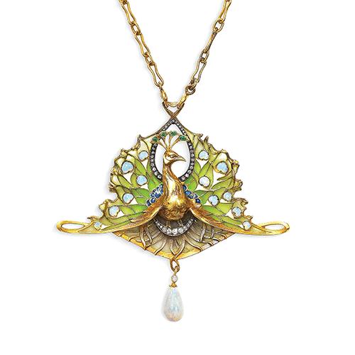 Vever Art Nouveau Opal, Emerald, Diamond, and Enamel Pendant/Brooch, c.1900. Photo Courtesy of Christie's.