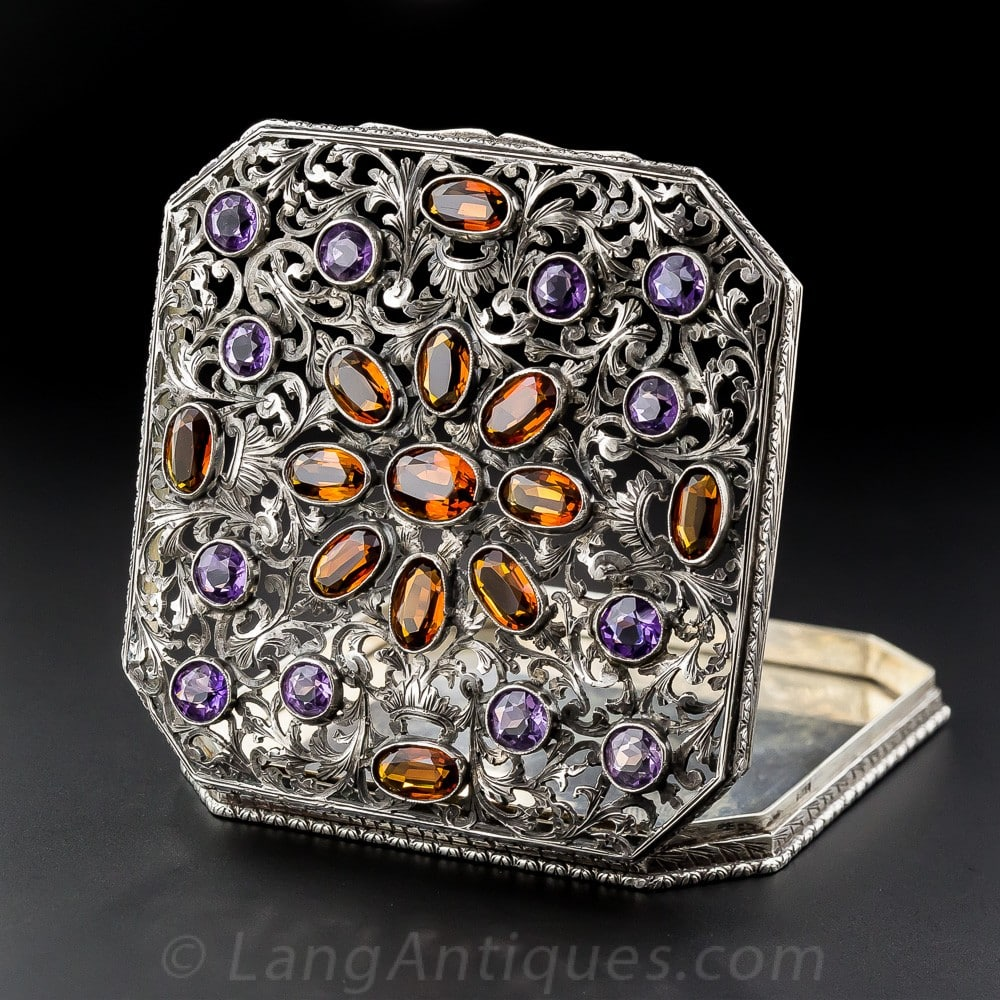 Ornate Pierced Foliate Design on a Silver Box with Amethyst and Citrine.