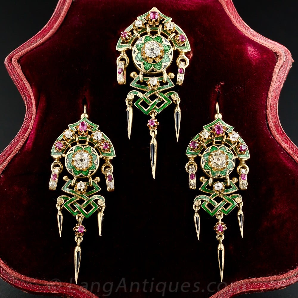 Antique French Diamond, Ruby, and Enamel Suite, c.1880s.