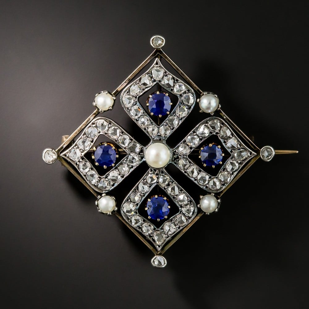 Quatrefoil Design Antique French Diamond, Sapphire, and Pearl Brooch.