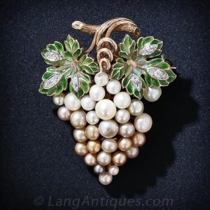Natural Pearl and Plique-a-Jour Enamel Grape Cluster Brooch.