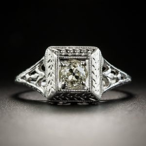 Art Deco Diamond Ring. Note the Bright Cutting Surrounding the Diamond.
