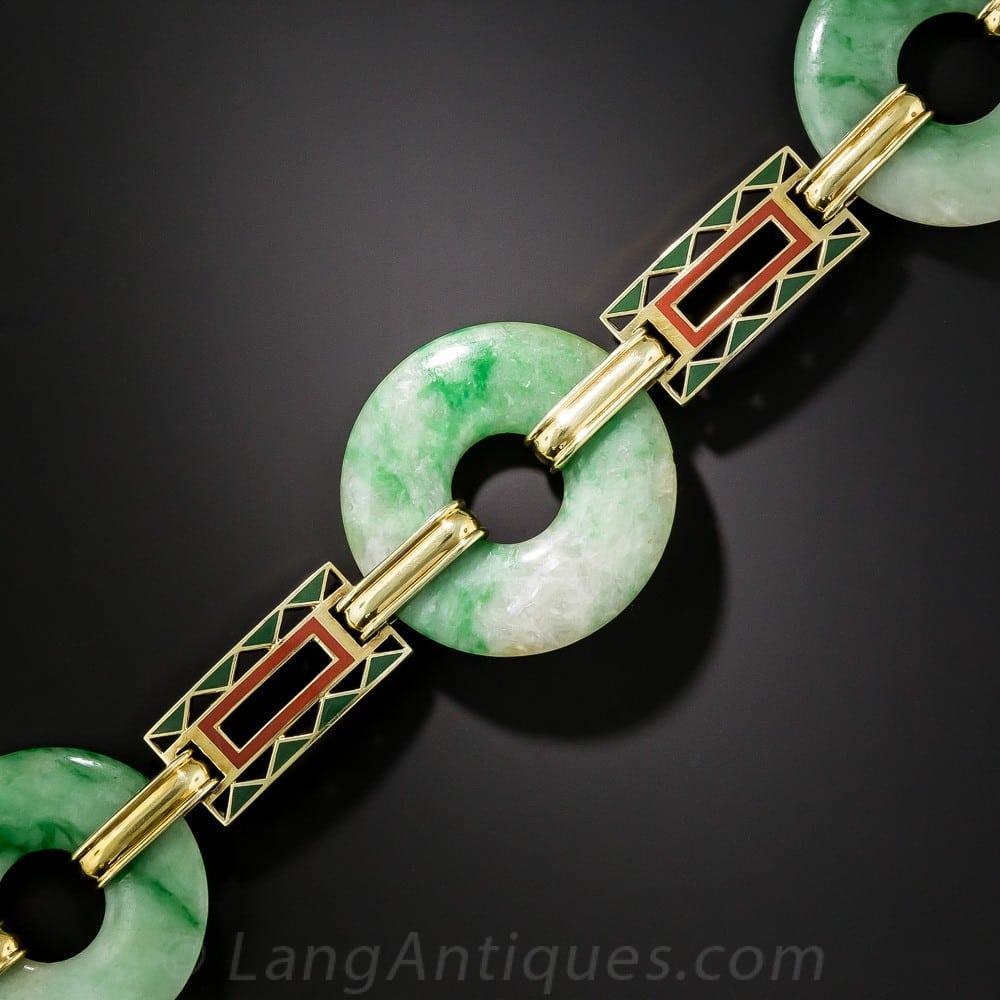 Art Deco Burmese Jadeite and Enamel Bi Bracelet.