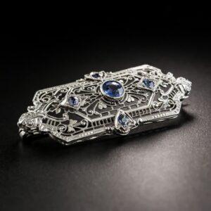 Art Deco Filigree Sapphire Brooch.