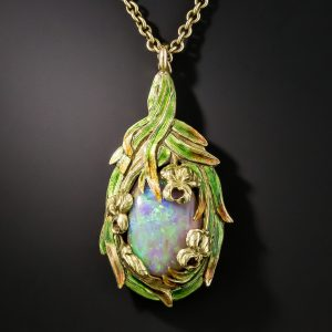 Art Nouveau Boulder Opal and Enamel Pendant, Attributed to Marcus & Co.