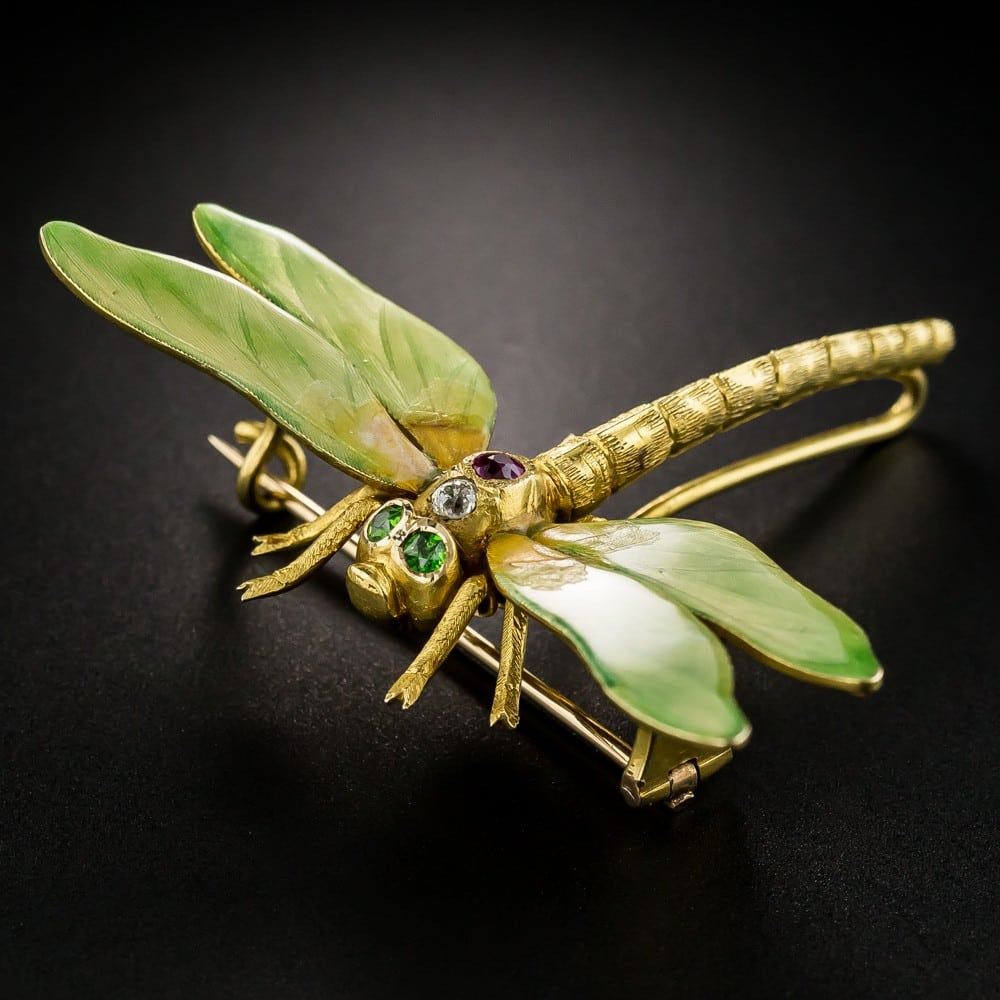 Riker Bros. Art Nouveau Enameled Dragonfly Brooch.