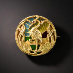 Riker Bros. Art Nouveau Plique-a-Jour Enamel and Gold Watch Brooch.