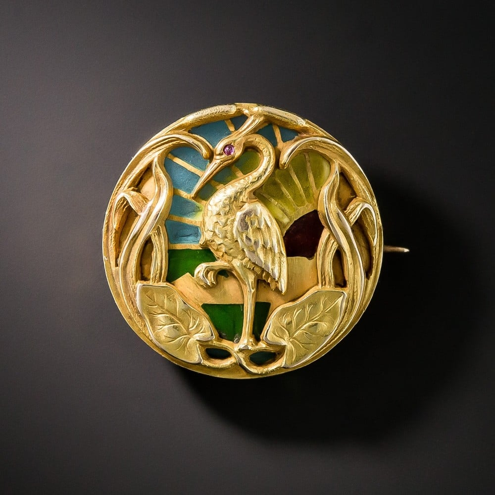 Riker Bros. Art Nouveau Plique-a-Jour Enamel and Gold Watch Brooch.