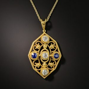 Arts & Crafts Twisted Wire Motif Sapphire and Diamond Pendant.