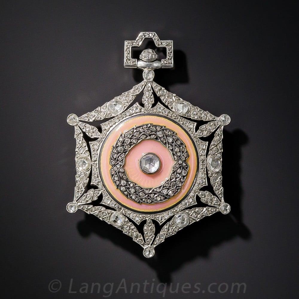 Boucheron Diamond and Guilloche Enamel Pendant Watch.