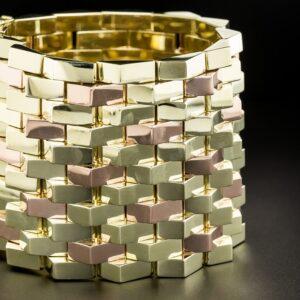 Highly Polished Retro Two Tone Gold Bracelet.