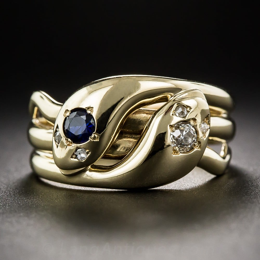 Victorian Sapphire and Diamond Double Serpent (Promise or Wedding) Ring.