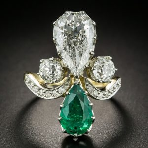 Pear-Shaped Diamond and Emerald Ring.