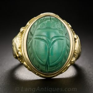 Egyptian Revival Ring with Plastic Composite Carved Scarab, c.1900-1910.