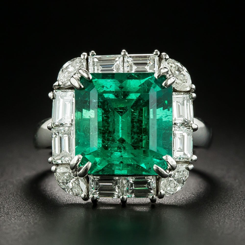 Colombian Emerald (Minor Treatment) and Diamond Ring.