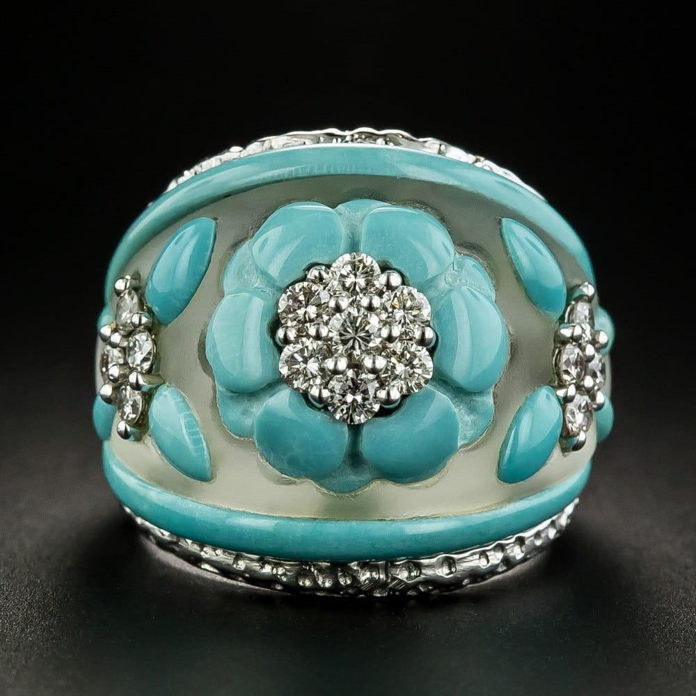 Translucent Crystal Dome Ring with Turquoise and Diamonds.