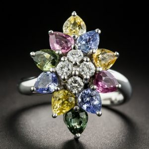 Multi-Color Sapphire and Diamond Ring.