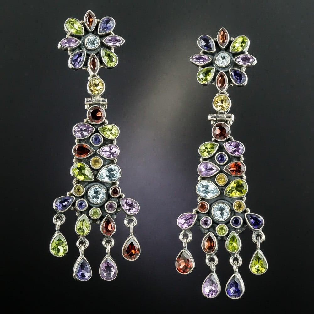 Multi-Gemstone Drop Earrings.