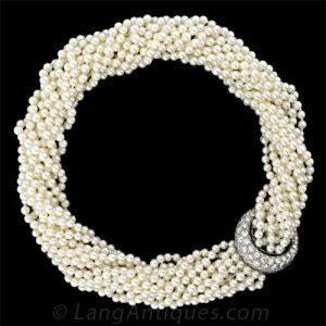 Pearl and Diamond Torsade Necklace.