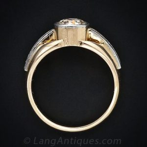 Tube-Set Diamond in a Vintage French Ring.