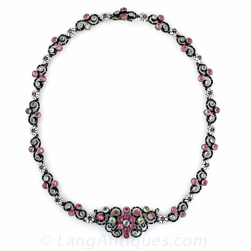 Antique French Enamel and Paste Silver Gilt Necklace.