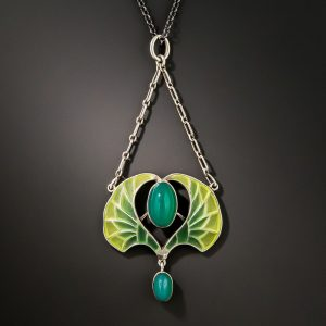 French Egyptian Revival Chrysoprase and Plique-a-Jour Enamel Necklace.