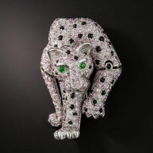 Pavé Set French Pink Diamond Panther Brooch.
