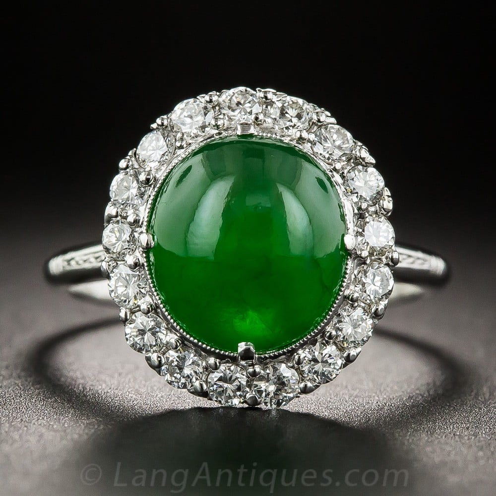 Jadeite Cabochon with a High Polish.