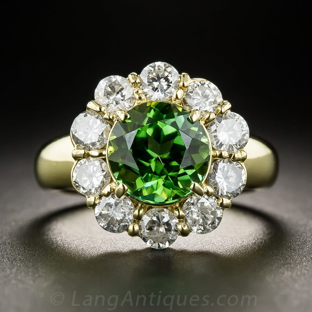 Green Tourmaline and Diamond Halo Ring. The Tourmaline Color is a More Yellow Green from this Crystal Direction - Exhibiting Pleochroism.