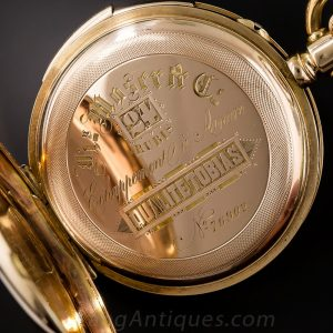 Hunting Case Pocket Watch with Cuvet Closed over the Movement.