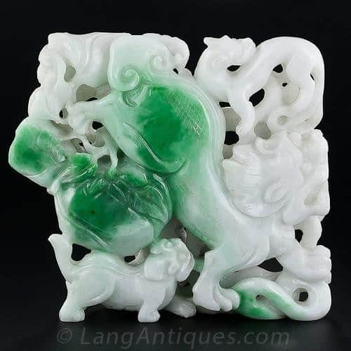 Double Sided Jadeite Carving (Front). Because of its Characteristic Toughness, Jadeite is Well Suited to this Type of Carving,