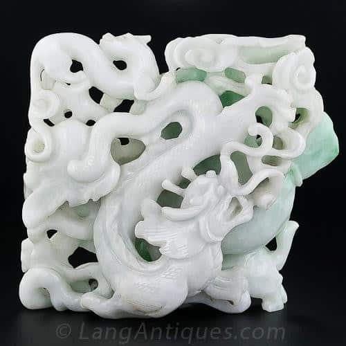 Double Sided Jadeite Carving (Reverse). Because of its Characteristic Toughness, Jadeite is Well Suited to this Type of Carving,
