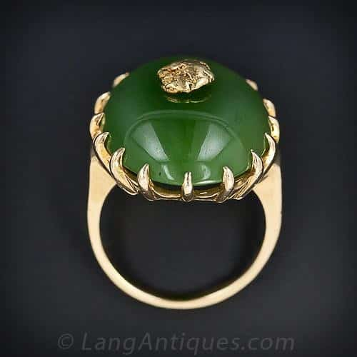 Nephrite and Gold Nugget Ring with Prong Surround.