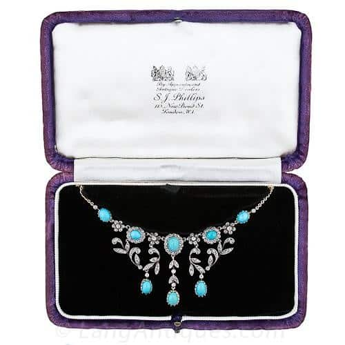 S.J. Phillips Victorian Turquoise and Diamond Necklace in a Signed Fitted Box.