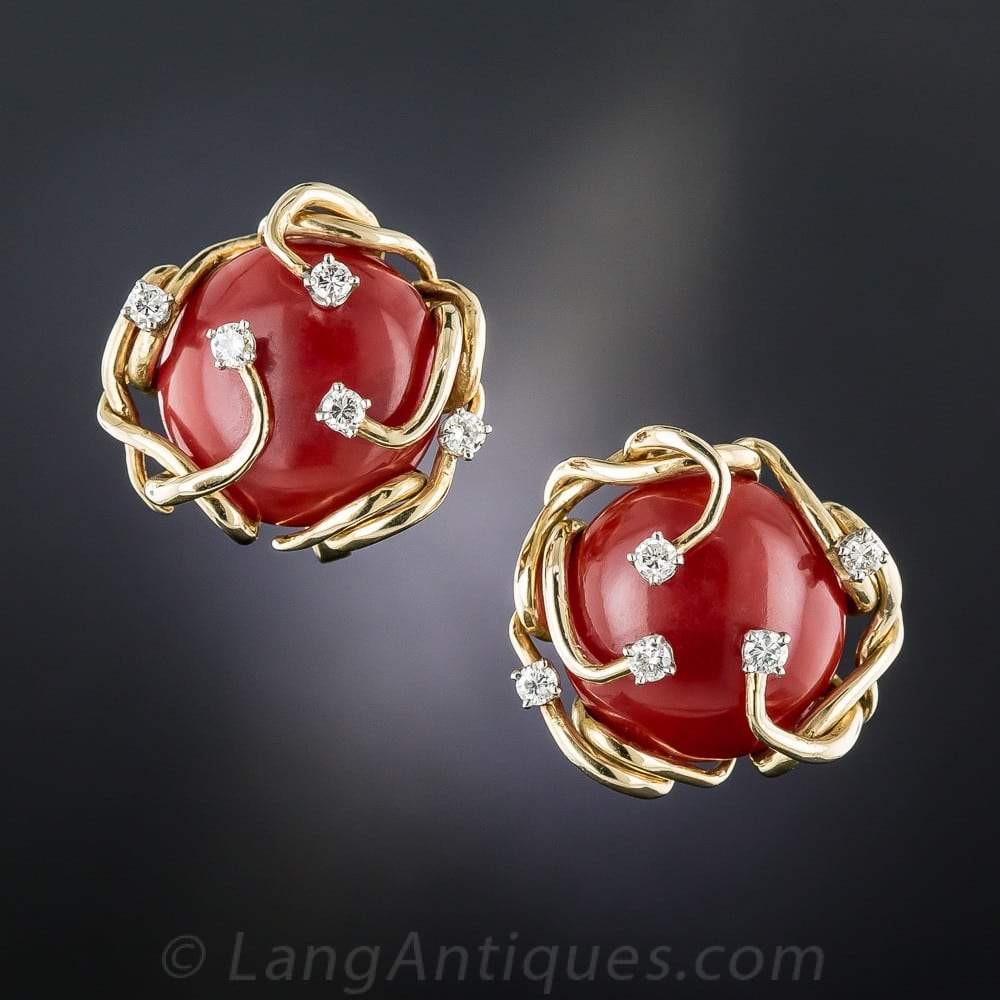 Mid-Century Coral and Diamond Tendril Design Ear Clips.