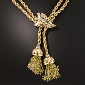 Gold and Diamond Mid-Century Tassel Necklace.
